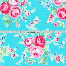 Turquoise & Pink Roses Fabric Floral Quilt Fabric Lecien & Like this item? Adamdwight.com