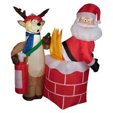 Christmas Decorations Sears Trim A Home Airblown Inflatable Animated Santa On Rocking Horse