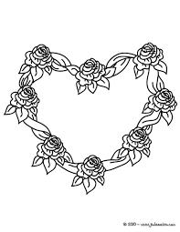 Coloriages Coloriage Gratuit Coeur De Roses Fr Hellokids Com