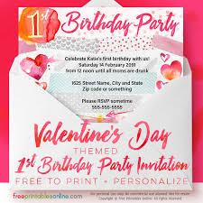 Valentines Day 1st Birthday Party Invitations Free Printables Online
