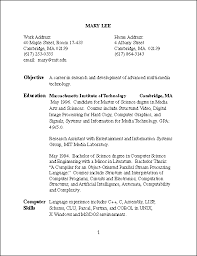 Resume of Mary Lee, page 1