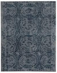 pottery barn bosworth printed wool rug blue