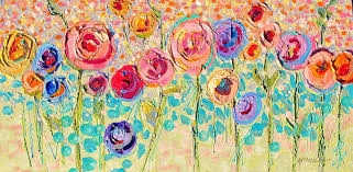 sweet summer roses 12101 mixed media abstract acrylic fl painting by nancy standlee texas artist