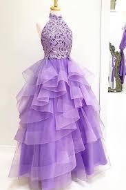 Purple <b>high neck</b> lace <b>tulle long</b> prom dress, purple evening dress ...