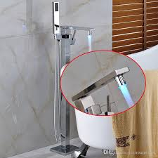 2019 new modern chrome with led color waterfall spout bathroom tub faucet free standing square tub filler w handheld sprayer floor mounted from