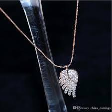 whole 2017 rose gold pendant necklace fashion angel love wings peach heart necklaces party birthday chain jewelry gift for women girl family pendant
