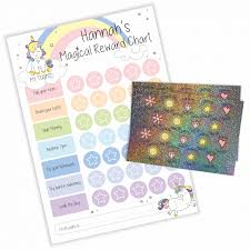 Unicorn Star Chart Magical Unicorn Reward Chart With Sparkly Stickers