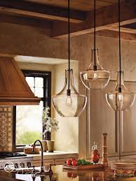 kitchen glass pendant lighting. Update Your Kitchen Lighting In Time To Entertain Guests. A Trio Of Kichler Glass Pendant Lights Makes Striking Focal Point.
