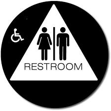 Eaglestone California ADA Title 40 Unisex Restroom Sign Circle Interesting Unisex Bathroom Signs
