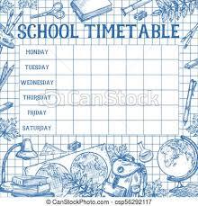 Design Schedule Template School Sketch Timetable Schedule Vector Template