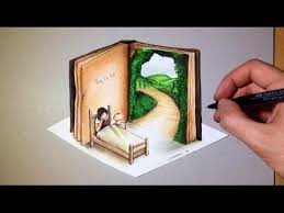 drawing of a 3d open book