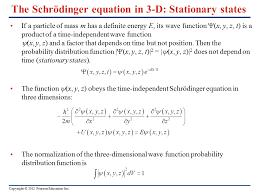 the schrödinger equation in 3 d stationary states
