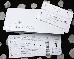 Black And White Invitation Paper Black White Clean Simple Airplane Ticket Wedding