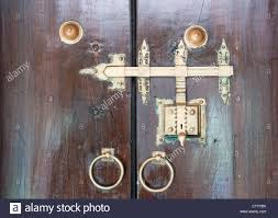traditional ancient lock system used for doors in south india stock image