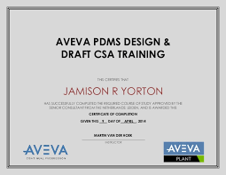 Certificate Of Completion Training Best AVEVA PDMS TRAINING