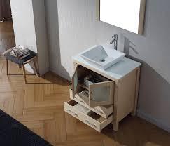 virtu usa 30 dior single sink bathroom vanity set in light oak with pure white