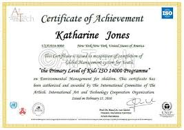 certificates of completion for kids kids iso 14000 programme