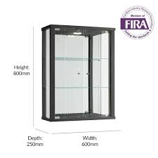 black wall mounted glass display cabinet with lighting