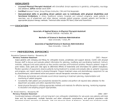Massage Therapist Resume Physical Therapy Assistant Resume Therapist Occupational Template 85