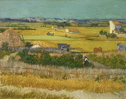 wheat fields van gogh series harvest or harvest at la crau montmajour in the background 1888 van gogh museum amsterdam f412