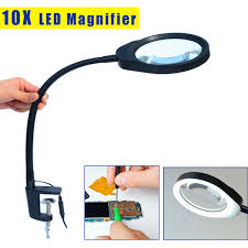 for reading repairing and inspection desktop magnifier 10x magnifying glass table machine soft rod dimmable led