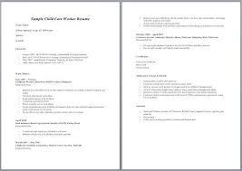Sample Resume Child Care Worker Sampleresume