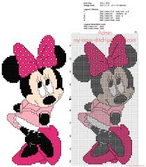 Minnie Mouse With Pink Dress Free Back Stitch Disney Cross