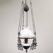 dutch colonial hanging oil lamp complete with ornate cast iron holder chains and balance