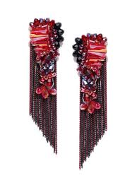 jewels galaxy red black gold plated handcrafted contemporary drop earrings