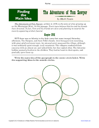 Middle School Main Idea Worksheet About Tom Sawyer