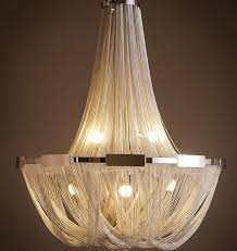 modern creative aluminum chain tassel hanging chandelier hotel chain lights 1128