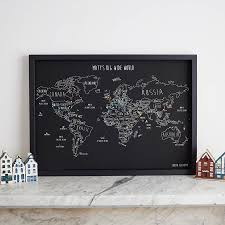 personalised world travel map with pins by louisa elizabeth