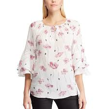 Chaps Womens Size Chart Womens Chaps Floral Tiered Sleeve Top In 2019 Women