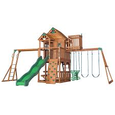 Backyard Discovery Skyfort II Residential Wood Playset with Swings