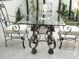 Vintage Oval Glass Dining Table With Wrought Iron Frame Wrought Iron Coffee Table  Base Glass Top