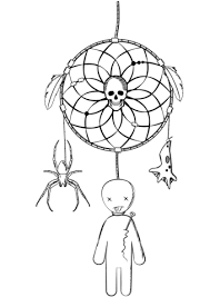 Small Picture Halloween Dreamcatcher with Voodoo Doll and Spider coloring page