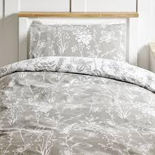 wilko botanical grey easy care single duvet set image 1