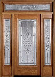 wood and glass entry door with sidelights and transom