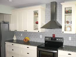 traditional true gray glass tile backsplash subway