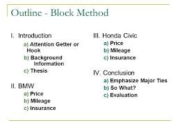 Compare And Contrast Essay Block Method Outline Mistyhamel