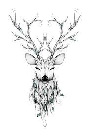 Poetic Deer Art Print By Loujah I Love Tattoos Pinte