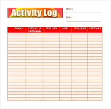 daily activities log template excel activity log sample 5 documents in pdf word excel