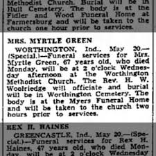 Myrtle (Weaver) Green obituary - Newspapers.com