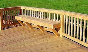 outdoor bench with back deck built in seats railing