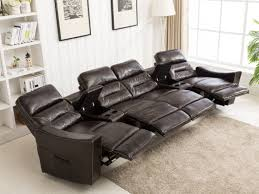 pu leather 4 seat reclining home theatre sectional heated sofa vibrating massage chair chocolate brown