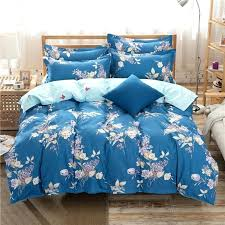 dark blue flower printed best home textile bed cover sets duvet cover queen