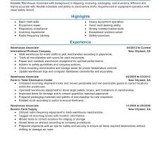 warehouse associate resume