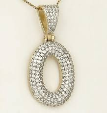 14k yellow gold 2 3 4ct pave round diamond 2d letter o initial pendant 1 86