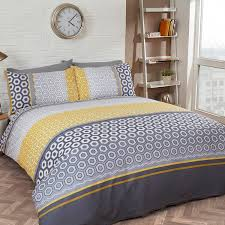 spectacular geometric duvet set with just contempo geometric duvet cover set ochre yellow double