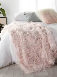 Light Pink Fur Throw Blanket Long Haired Pastel Pink Throw 140 X 180 Cm Linen House
